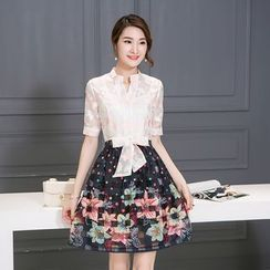 Crista - Set: Floral Blouse + Skirt