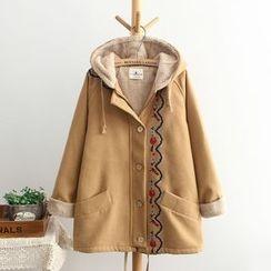 TOJI - Fleece-Lined Embroidered Hooded Zip Coat