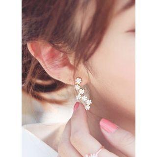 kitsch island - Dropped Rhinestone Silver Earrings