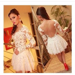 Fundae - Open Back Lace Panel Mini Prom Dress