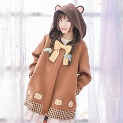 Moriville - Bow Accent Biscuit Print Hooded Jacket
