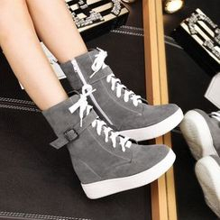 Shoes Galore - Platform Hidden Wedge Lace Up Boots