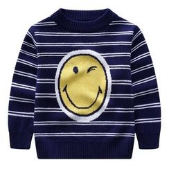 Endymion - Kids Smiley Face Print Striped Sweater