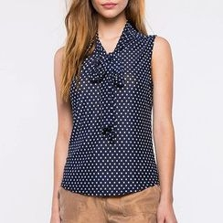 Richcoco - Dotted Bow Sleeveless Chiffon Top