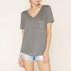 Richcoco - V-neck Short-Sleeve T-shirt
