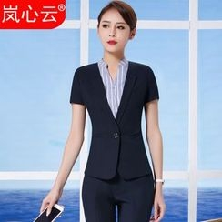 Skyheart - Short-Sleeve Blazer / Set: Blazer + Dress Pants / + Skirt / + Striped V-Neck Dress Shirt