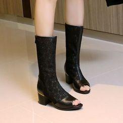 Shoes Galore - Chunky Heel Peep Toe Boots