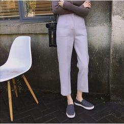 Moon City - Plain Cropped Straight Cut Pants