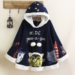 Angel Love - Cat Print Furry Trim Hooded Cape
