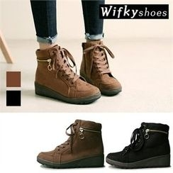 Wifky - Zip-Detail Lace-Up Faux-Suede Ankle Boots