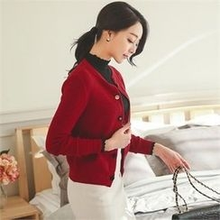 ode' - Round-Neck Multi-Button Cardigan