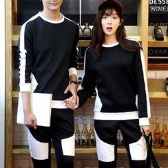 Bay Go Mall - Set: Couple Matching Two Tone Pullover + Sweatpants