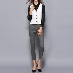 Merald - Set: Long-Sleeve Dress Shirt + Piped Button Vest + Dress Pants