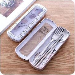 Eggshell Houseware - Set: Spoon + Fork + Chopsticks + Case