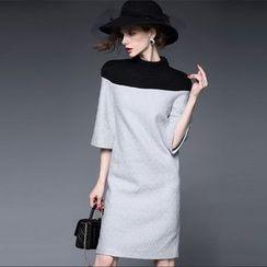 Diosa - 3/4-Sleeve Color Block Woolen Dress