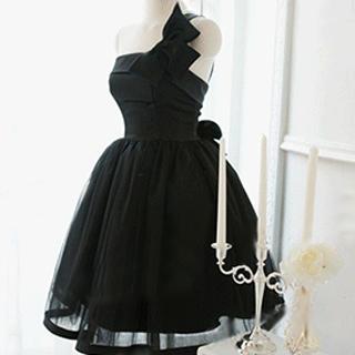 Angel Bridal - One-Shoulder Bow Mini Prom Dress