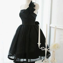 Angel Bridal - 單肩飾蝶結短禮服裙