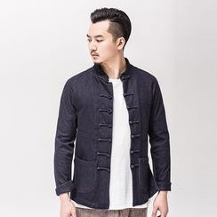 Ashen - Chinese-Style Frog-Button Denim Jacket