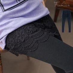 RingBear - Inset Embroidered Lace Skirt Leggings