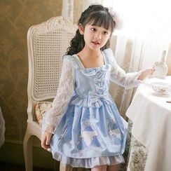 Candy Rain - Kids Rabbit Print Lace Panel Long Sleeve Dress