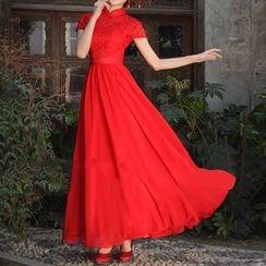 Bridal Workshop - 短袖中式领A字礼服裙 / 晚礼服