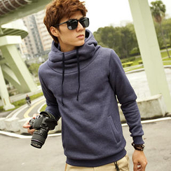 Free Shop - High-Neck Hooded Pullover