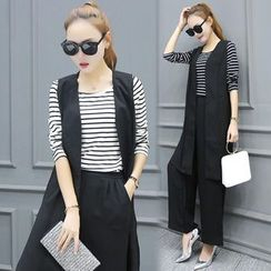 Sienne - Set: Striped Long Sleeve T-Shirt + Long Vest + Wide Leg Pants