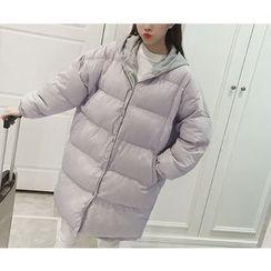 Eva Fashion - Panel Hooded Padded Coat