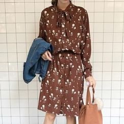 Dute - Floral Print Long-Sleeve Dress