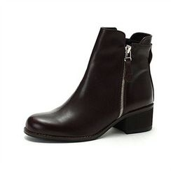 MODELSIS - Zip-Detail Genuine Leather Ankle Boots