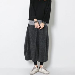 FASHION DIVA - Band-Waist Long Balloon Skirt
