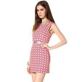 59 Seconds - Lattice Print Sleeveless Dress (Belt not Included)