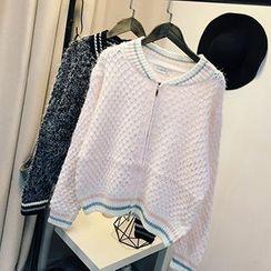 Polaris - 配色邊拉鍊開衫