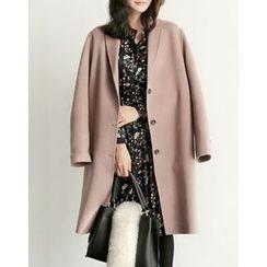 UPTOWNHOLIC - Single-Breasted Wool Coat