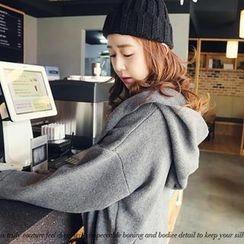 NANING9 - Wool Blend Hooded Open-Front Knit Coat