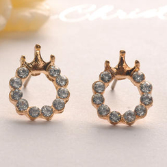 Fit-to-Kill - Diamond Crown Earrings - Gold