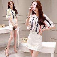 Romantica - 條紋襯衫半裙套裝