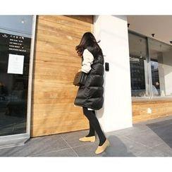 MARSHMALLOW - Sleeveless Padded Long Jacket