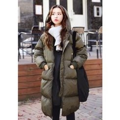 DEEPNY - Hooded Pocket-Front Long Puffer Coat