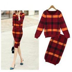GRACI - Set: Long-Sleeve Plaid Knit Top + Skirt