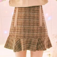 icecream12 - Ruffle-Hem Check Mini Skirt