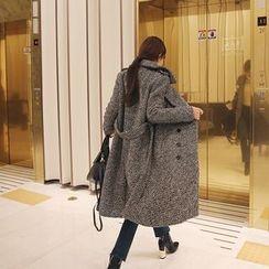 DABAGIRL - Epaulet Wool Blend Tweed Coat with Sash