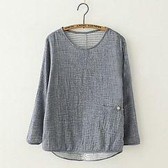 Meimei - Long-Sleeve Pleated Top