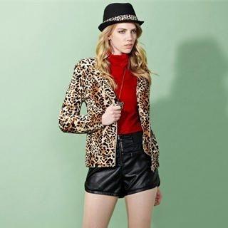 Moonbasa - Leopard-Print Furry Hoodie
