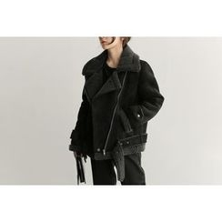 UPTOWNHOLIC - Belted-Detail Faux-Shearling Jacket