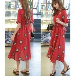Dowisi - Print Frill Trim Dress