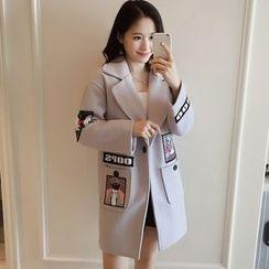 千色衣站 - 平駁領貼飾飾扣外套