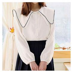 Sechuna - Sailor-Collar Long-Sleeve Blouse