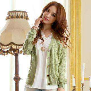 Tokyo Fashion - Lace-Panel Pointelle-Knit Cardigan