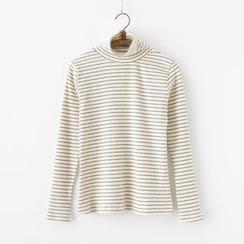 moripick - Striped Long Sleeve Turtleneck T-Shirt